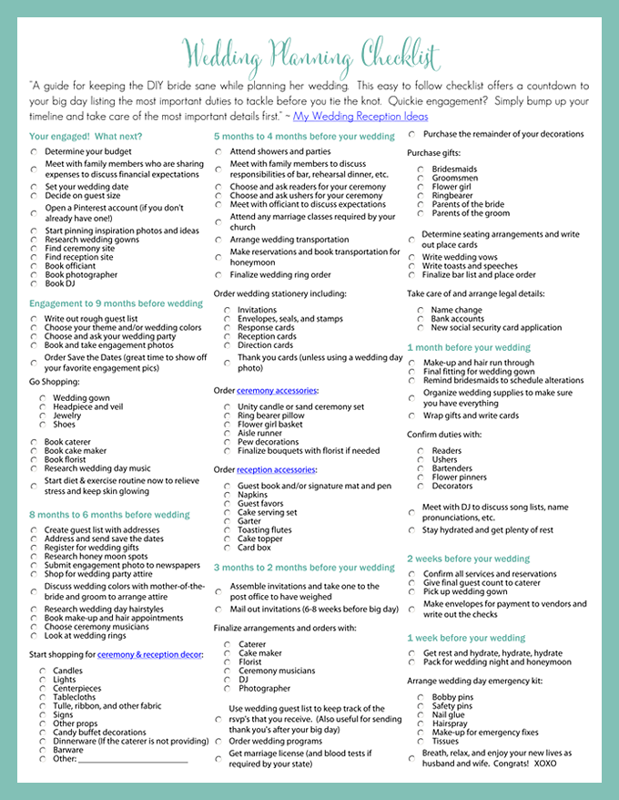 6 Images of Wedding Reception Checklist Printable
