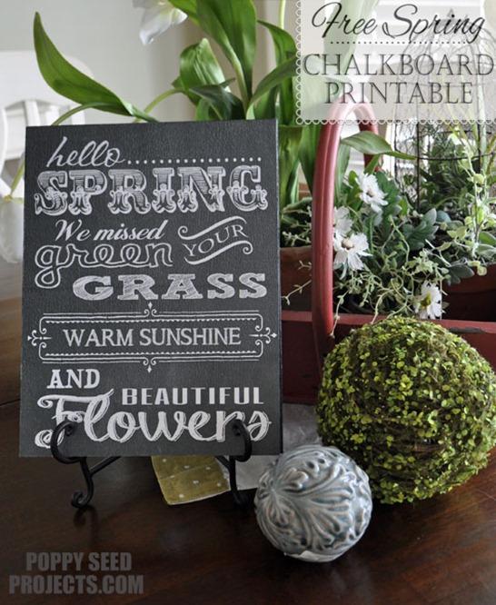 Free Spring Chalkboard Printable