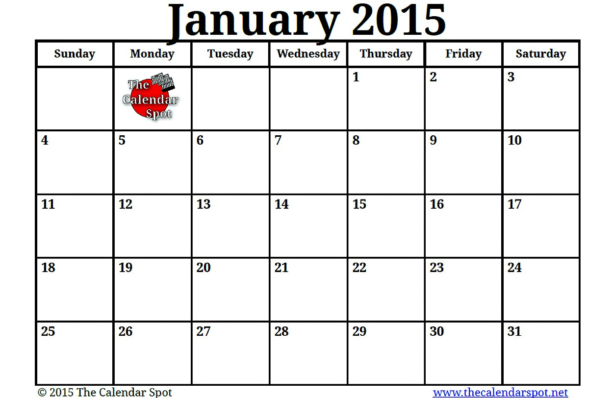 7 Images of Printable Blank Calendar Jan 2015
