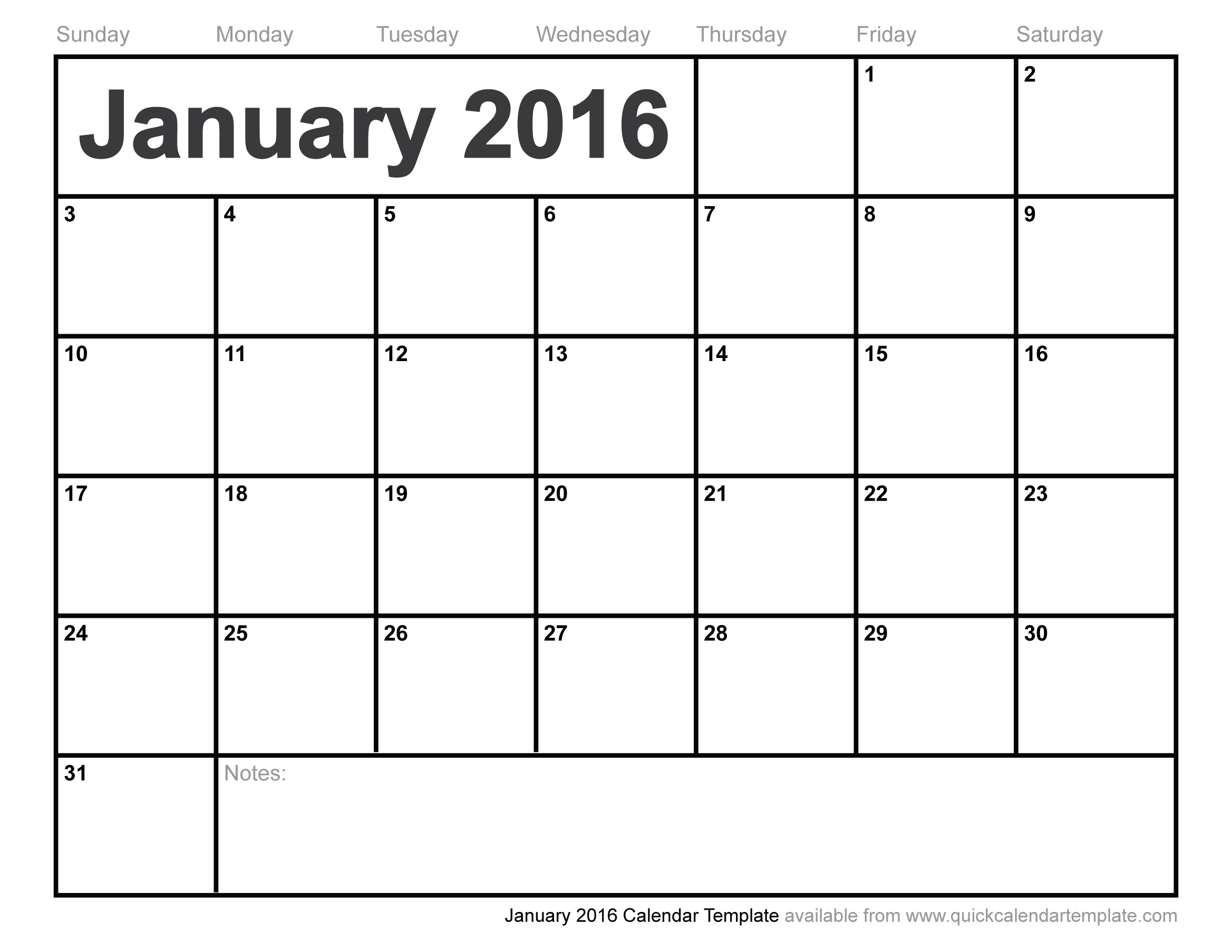 5 Images of Free Printable 2016 Monthly Calendar Template 4 X 5
