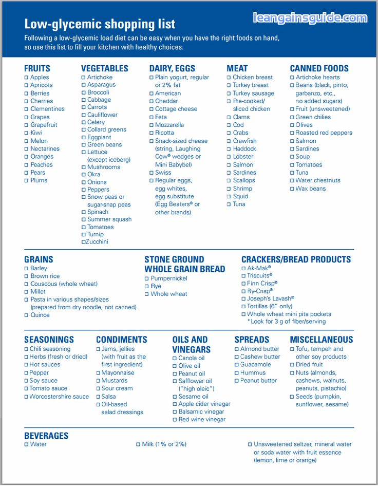 Glycemic Index Glycemic Load Food List