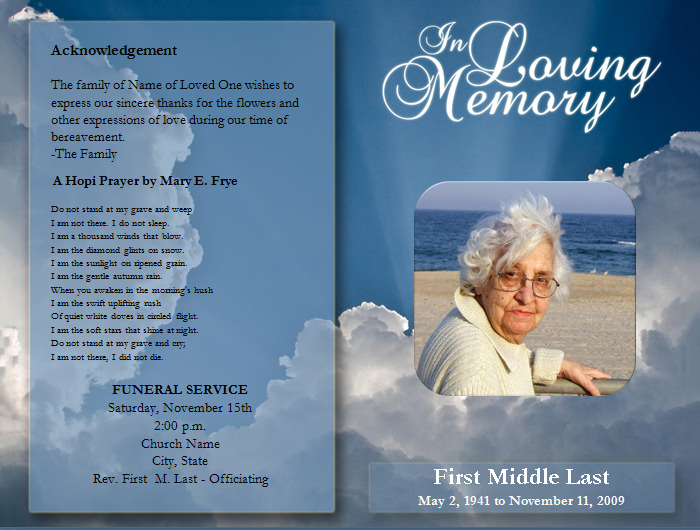8 Images of Free Printable Funeral Service Templates