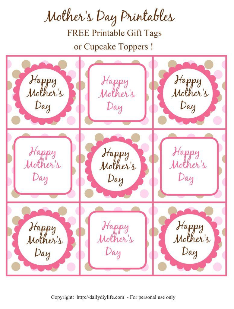 4 Images of Free Printable Mother's Day Cupcake