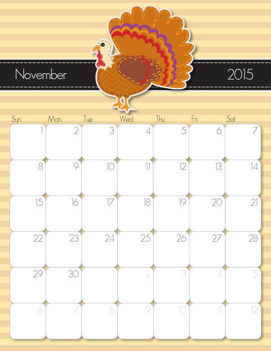 8 Images of November 2015 Cute Printable Calendars