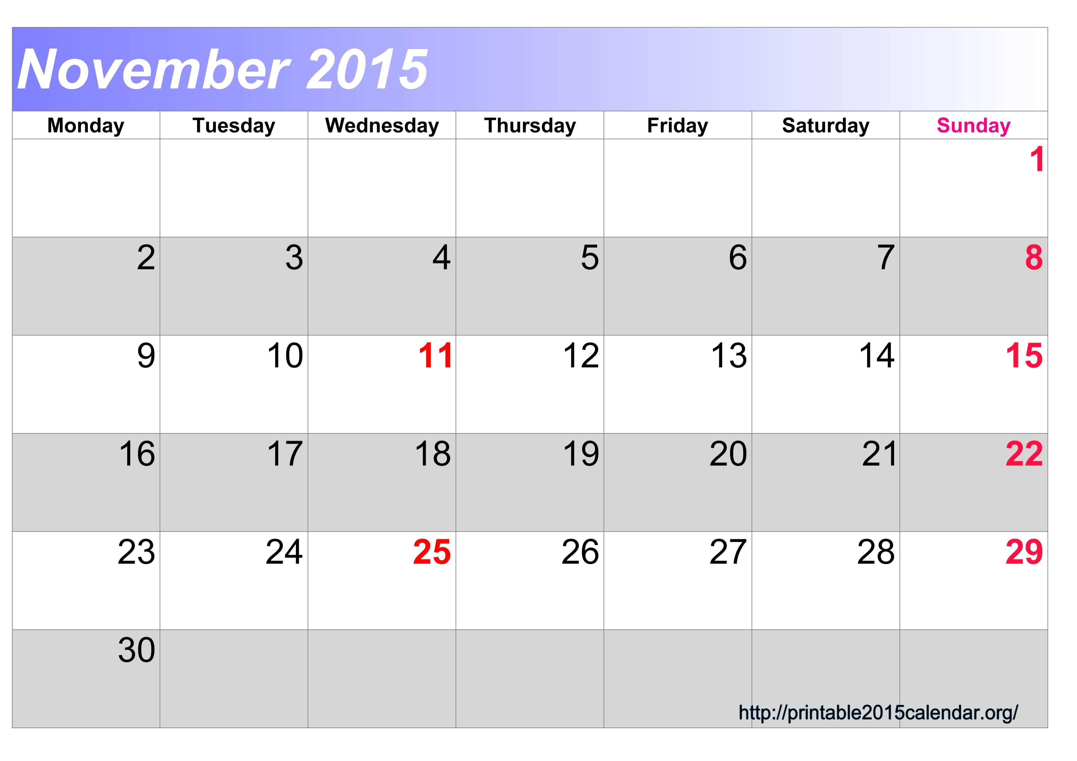 November 2015 Calendar Printable 8 X 10