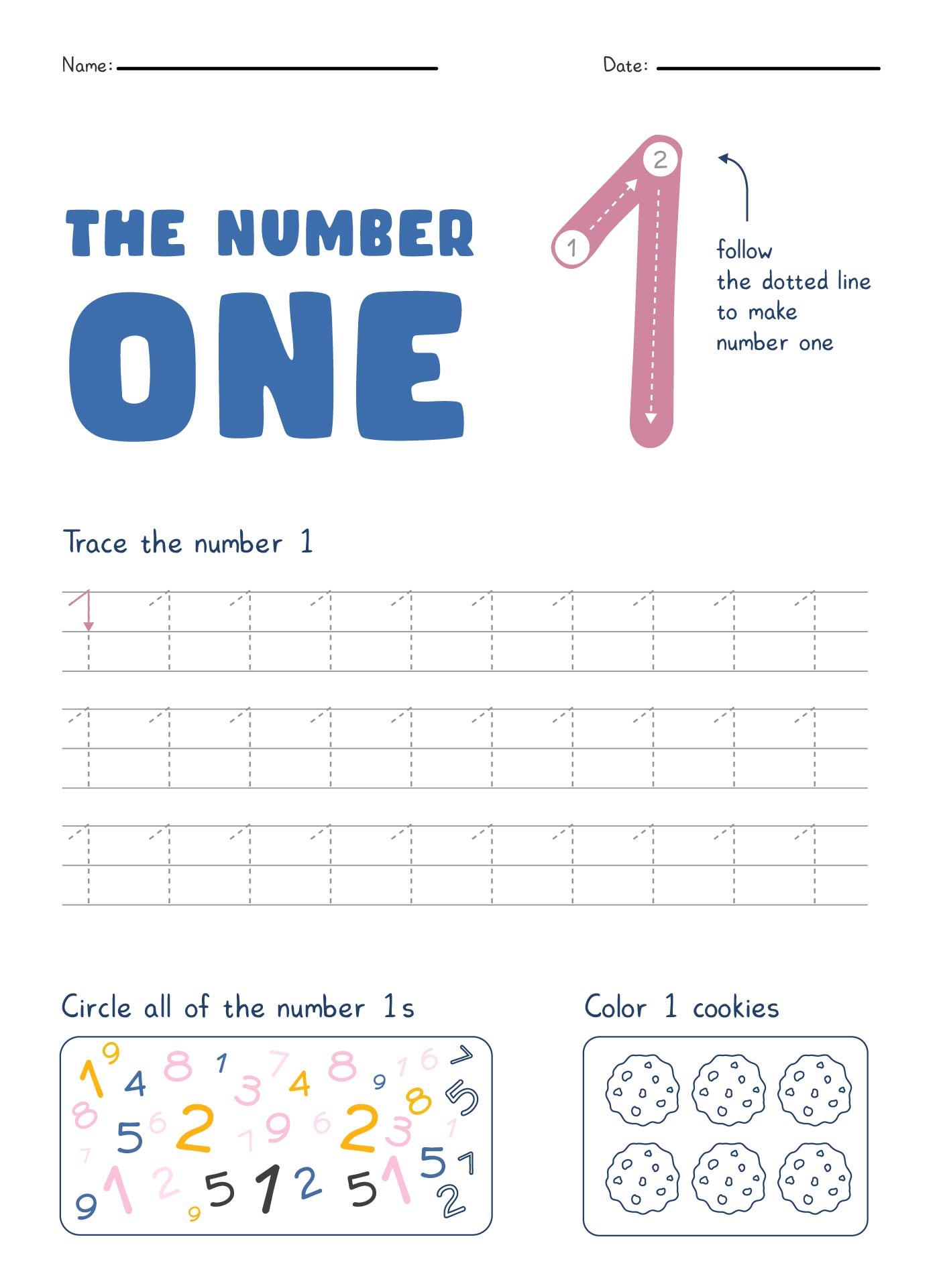 8 Images of Printable Number 1 Worksheet
