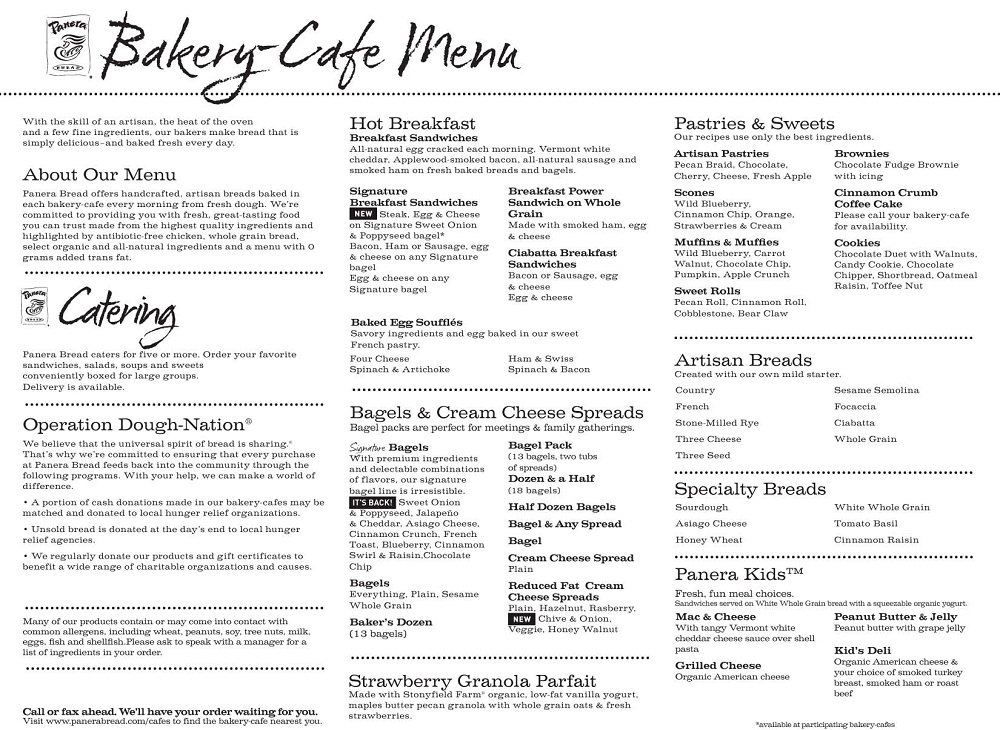 8 Images of Panera Printable Menu With Prices