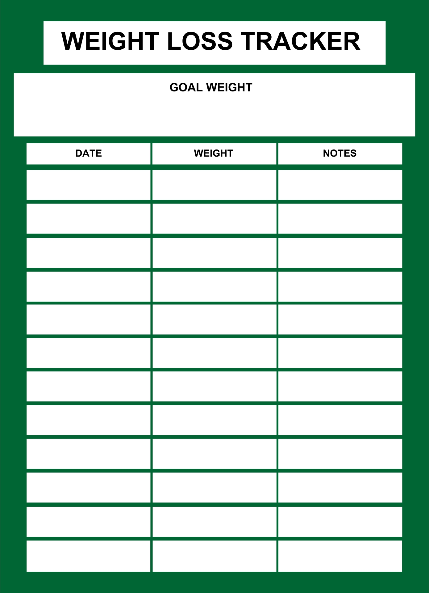 Printable Daily Weight Loss Chart
