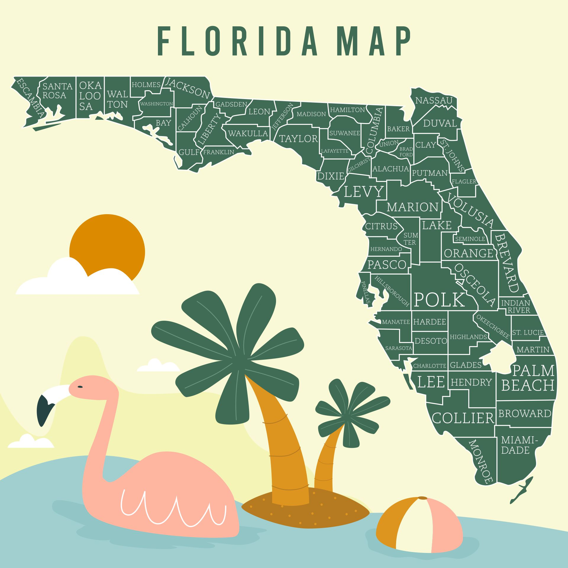 Printable Florida Map with Cities