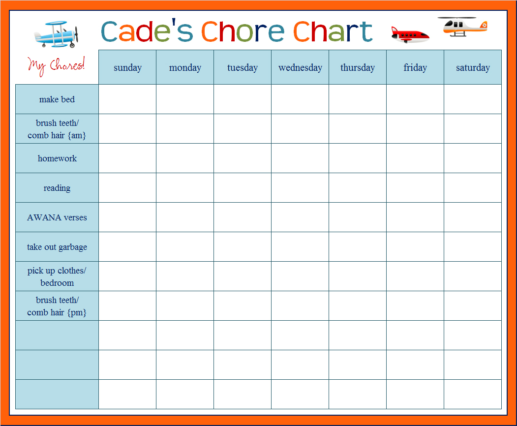 Printable Kids Chore Chart Template