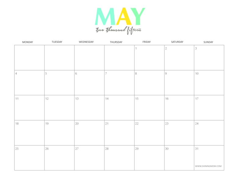 7 Images of Free Printable 2015 Monthly Calendars May