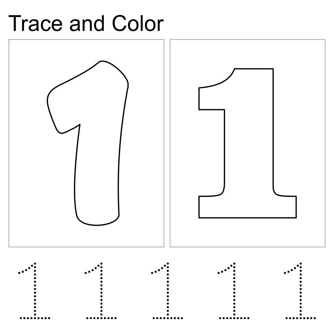 Printable Number 1 Tracing Worksheets
