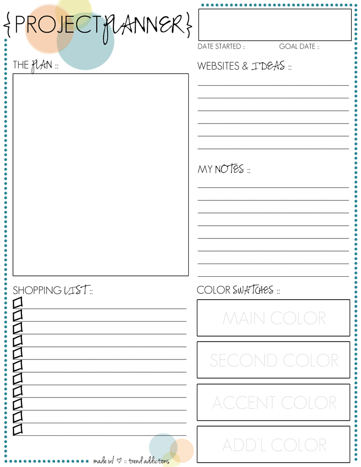 8 Images of Project Planner Printable