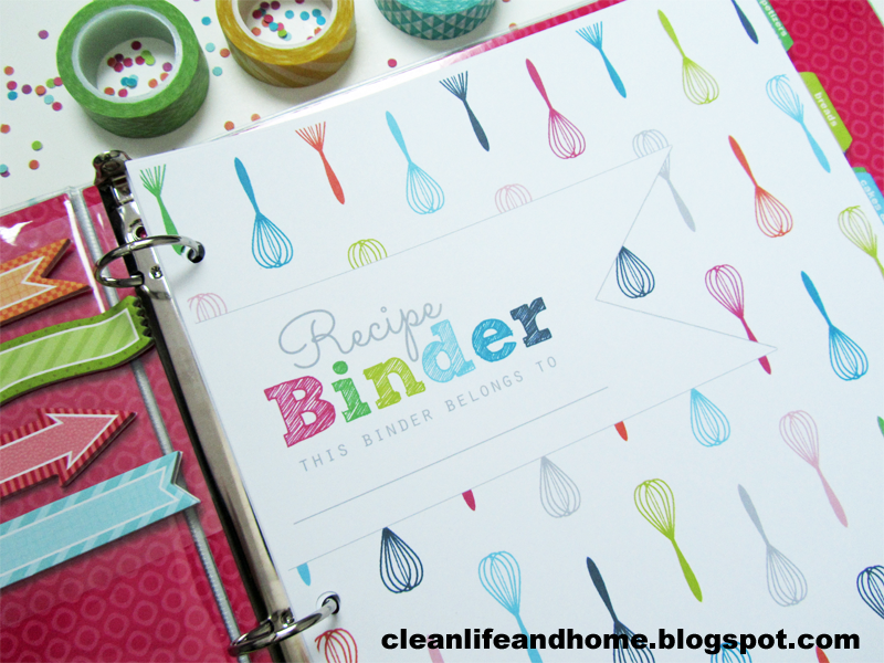 Printable Recipe Binder Cover