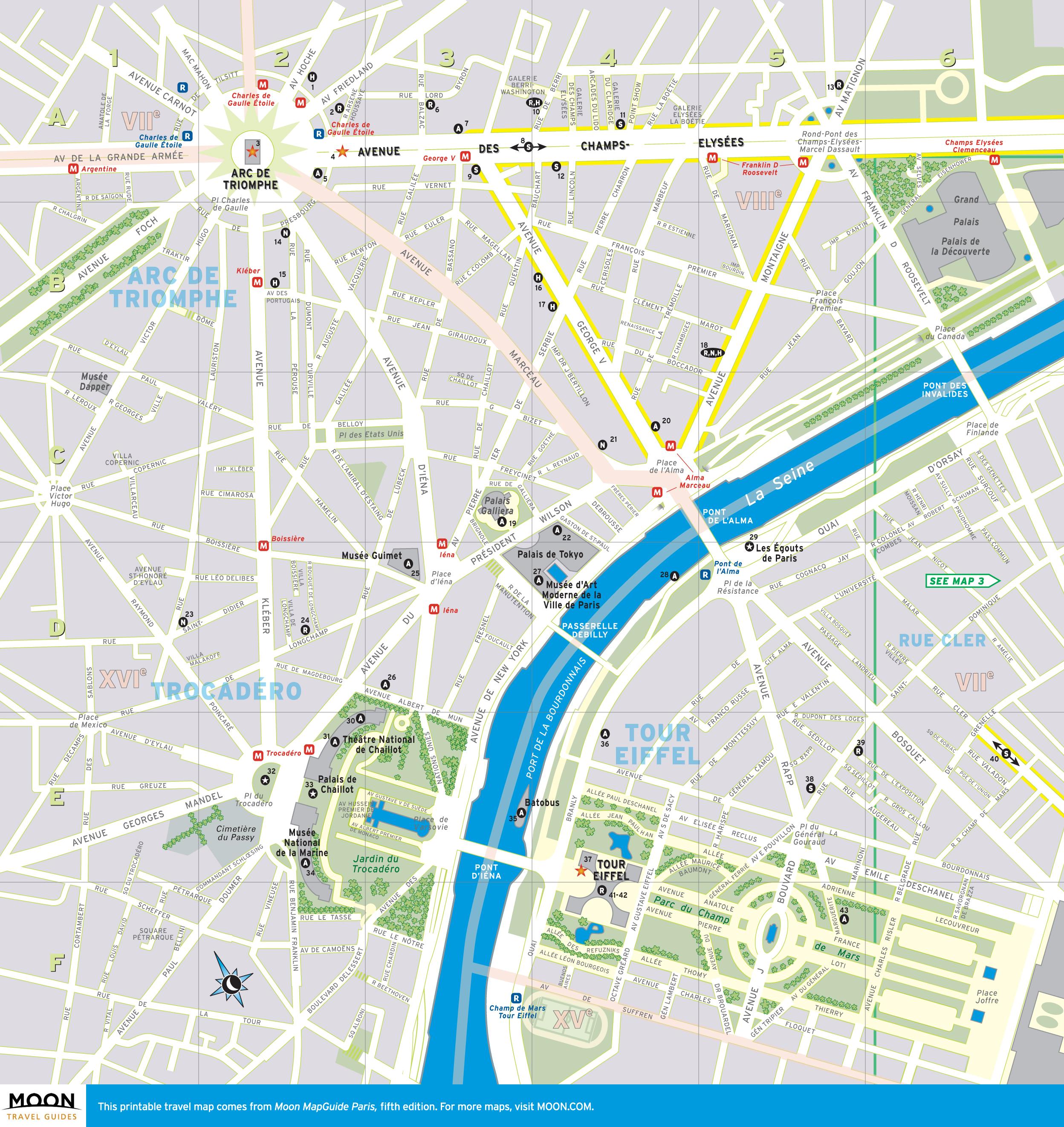 Printable Travel Map of Paris