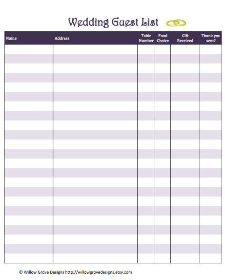 Doc601468 Printable Wedding Guest List Template Sample – Printable Guest List Template
