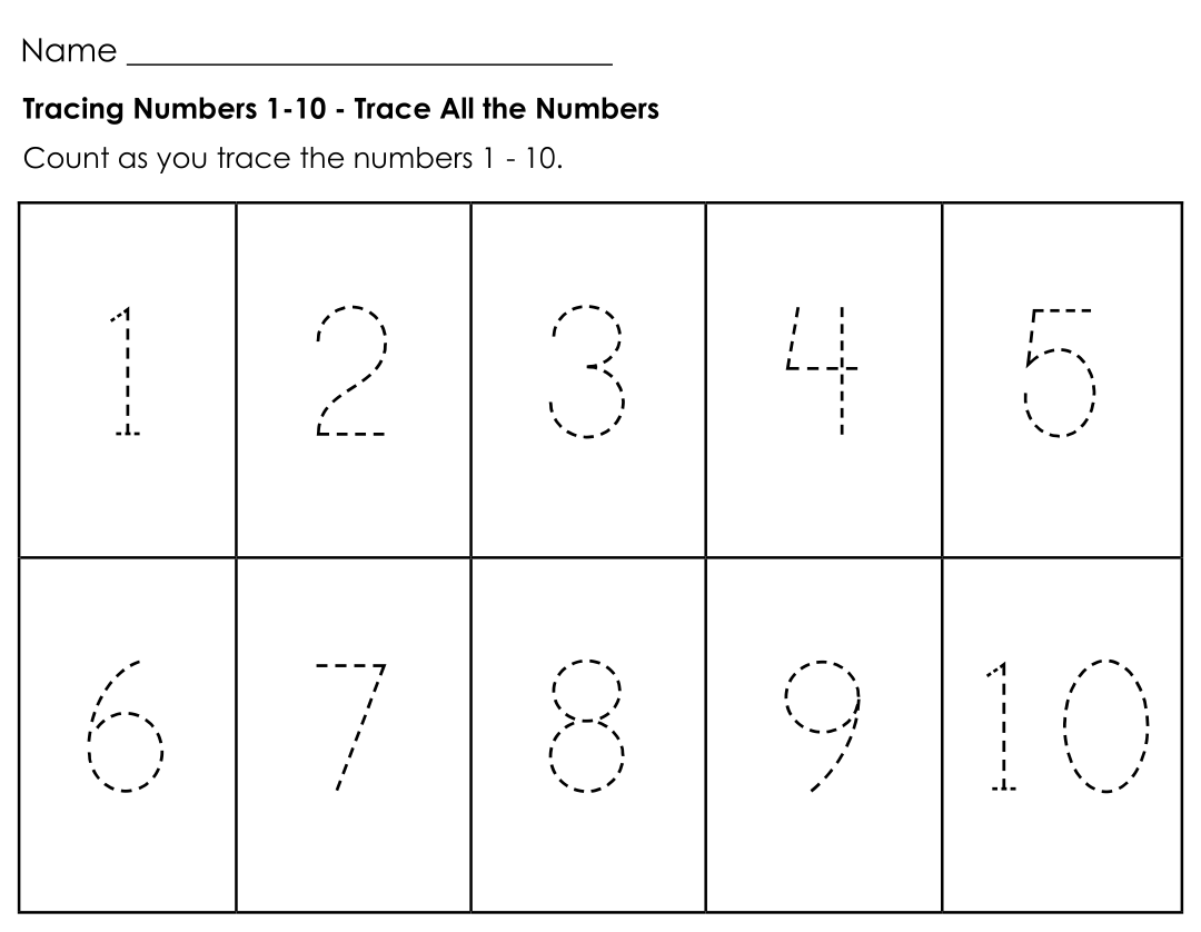 Tracing Numbers 1-10 for Kindergarten