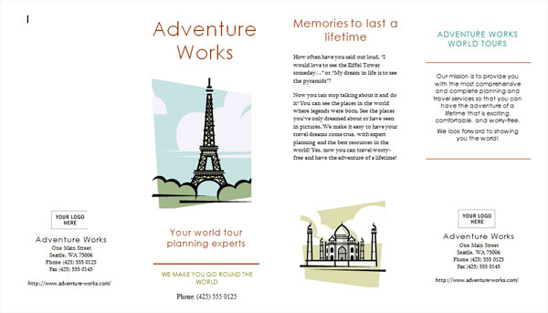 8 best images of brochure sample free printable state for Free travel brochure templates