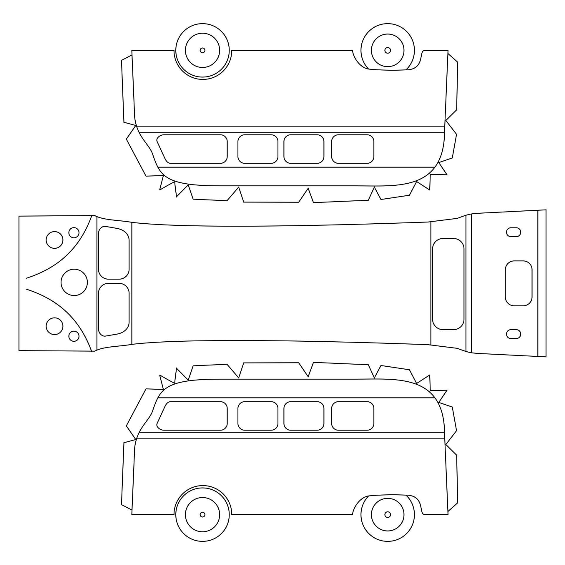 7 Images of VW Bus Paper Template Printable