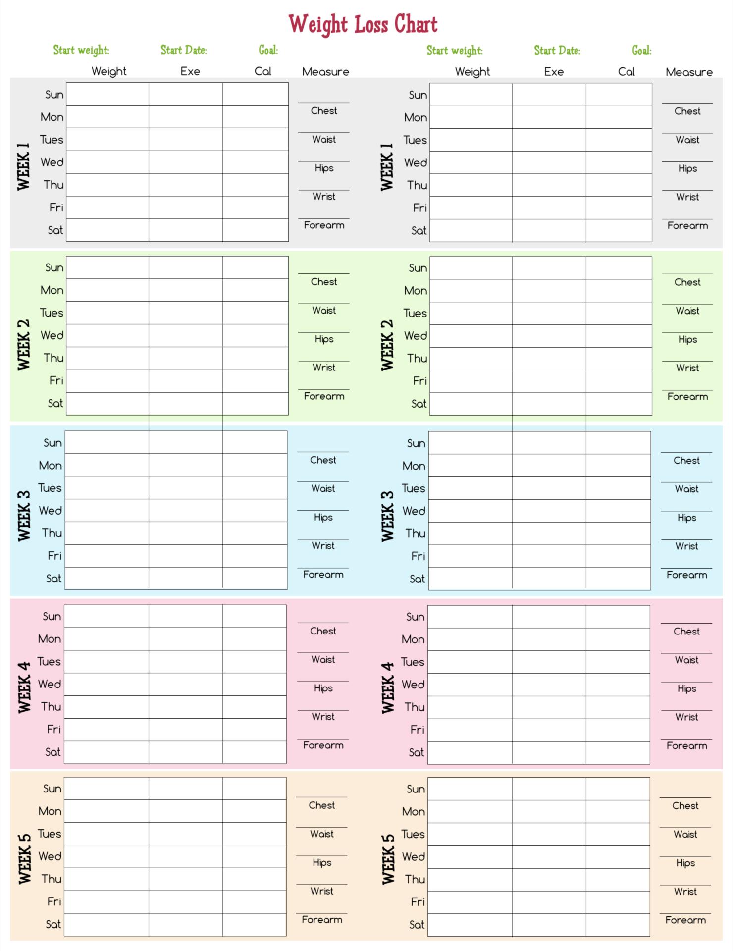 Weight Loss Log Sheet Printable