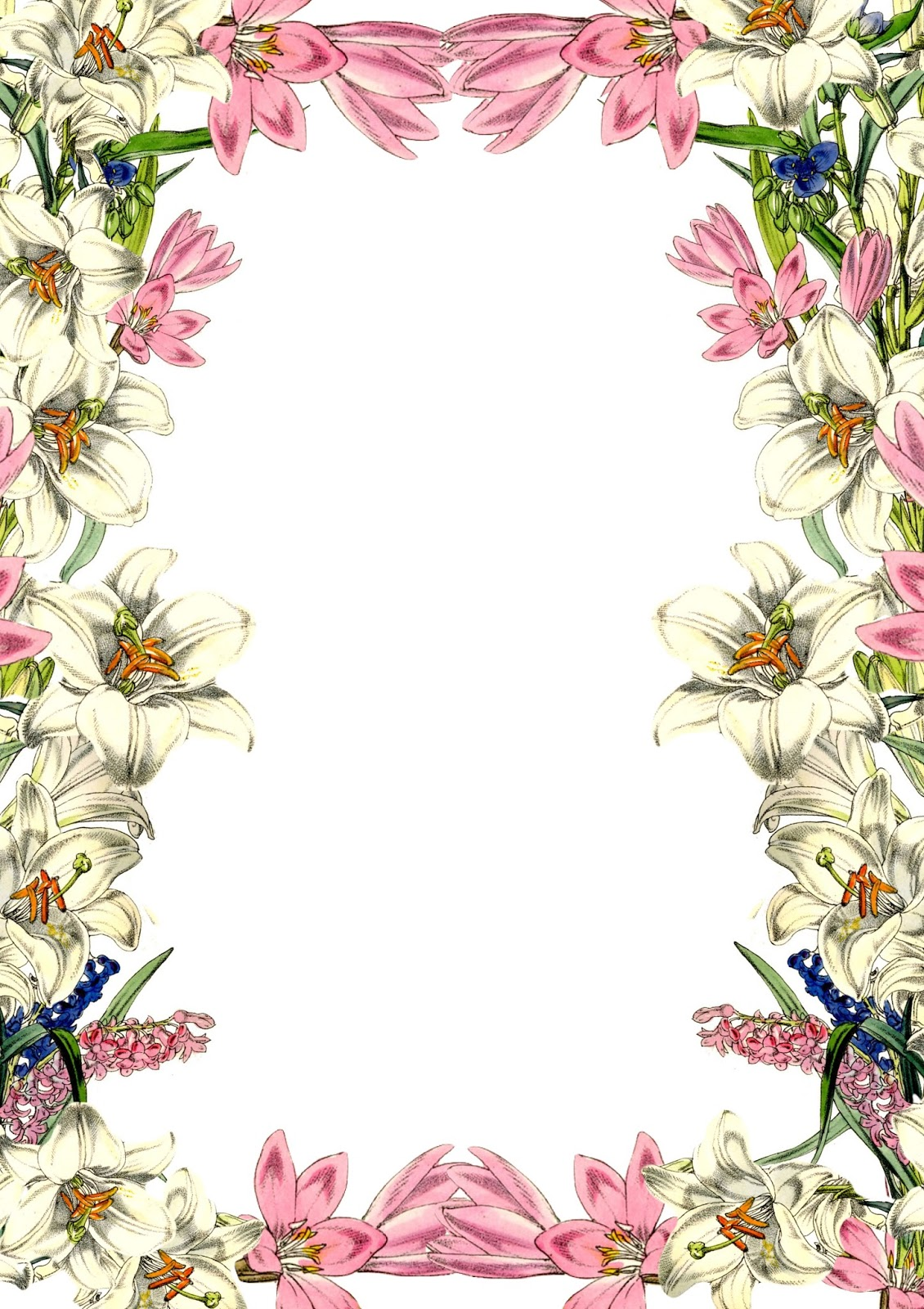 Writing Paper With Flower Borders 6 best images of flower border paper