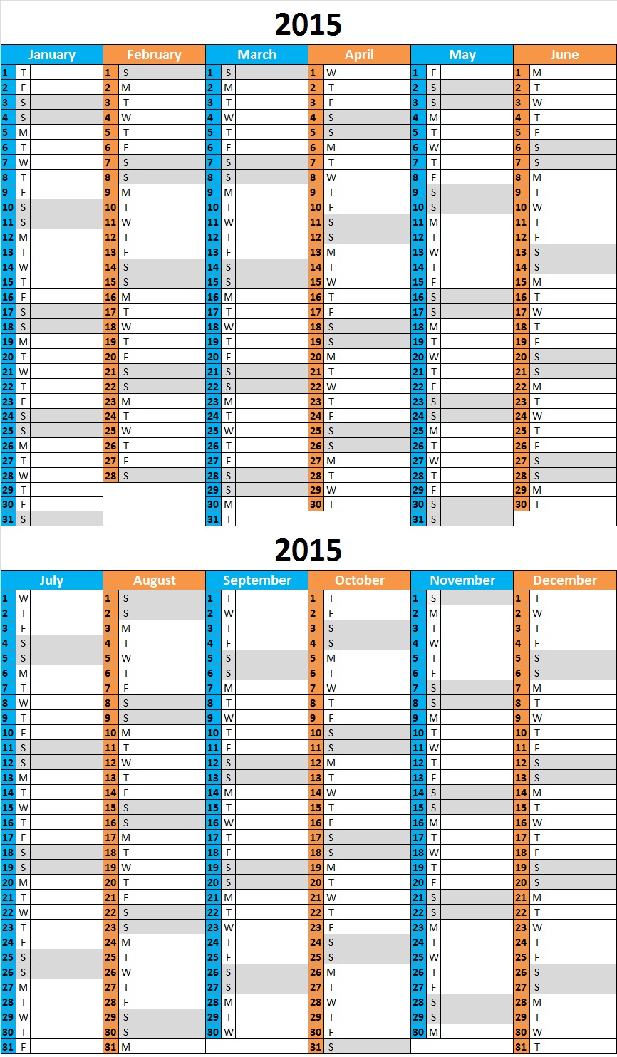 2017 calendar one page 12 months vertical grid green row monday