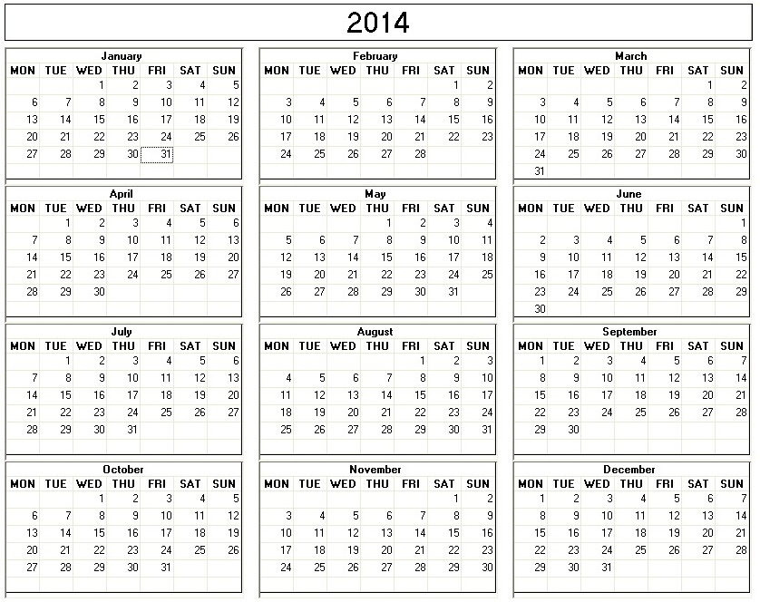 6 Images of Printable 2014 Calendar With Weeks