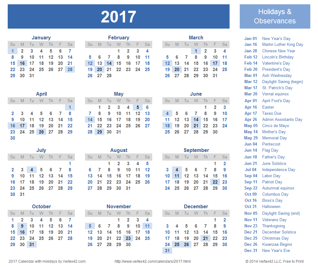 8 Images of 2016 2017 Calendar With Holidays Printable