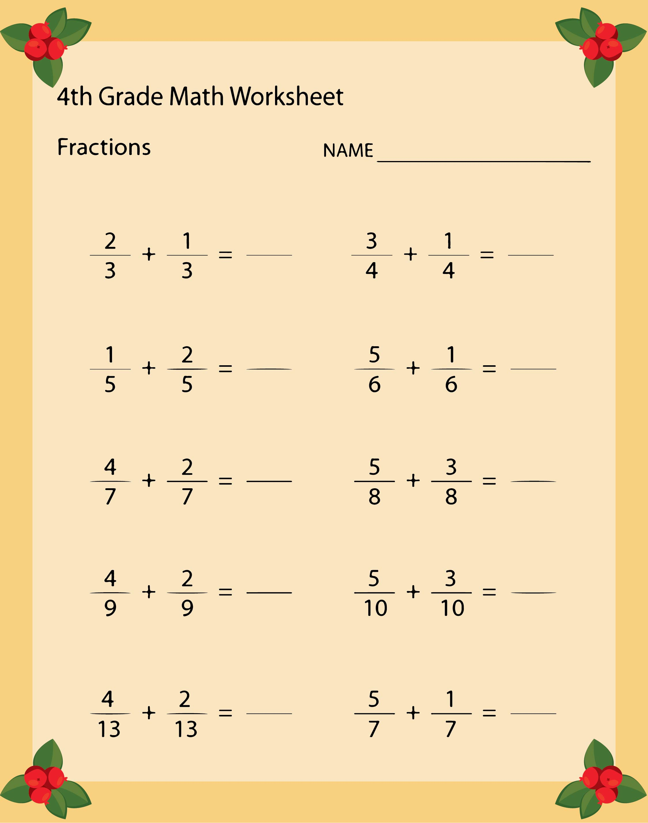 Printable Math Worksheets For Grade 4 Scalien – Math Worksheet for Grade 4