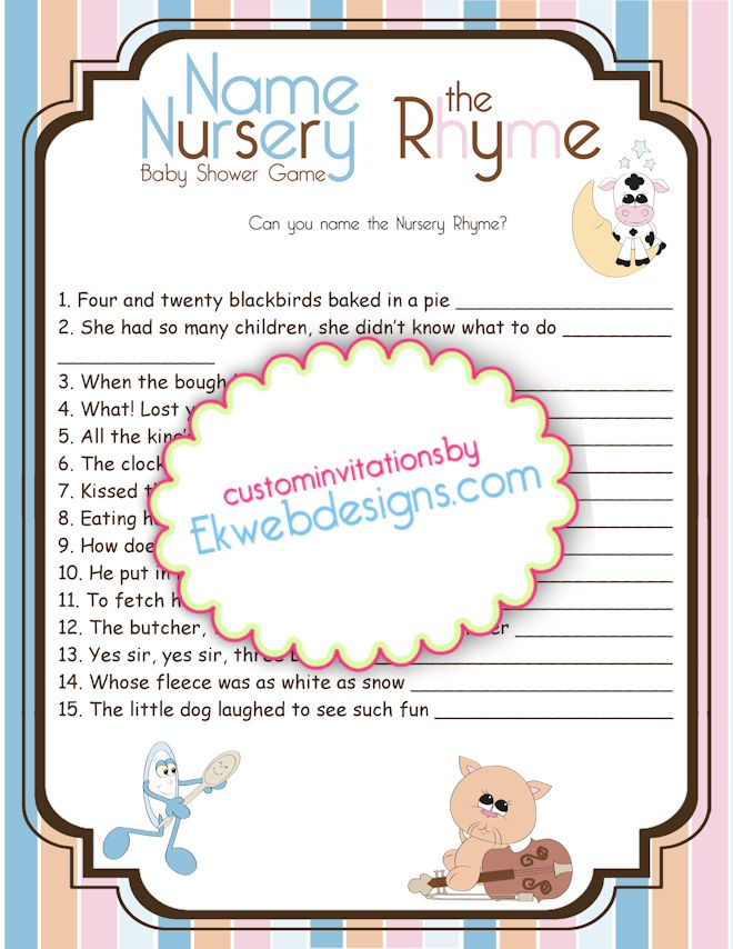 baby shower nursery rhyme game answers baby shower nursery rhyme game