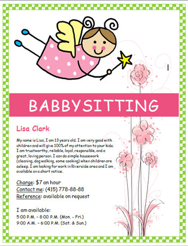 10 Images of Free Printable Babysitter Flyers