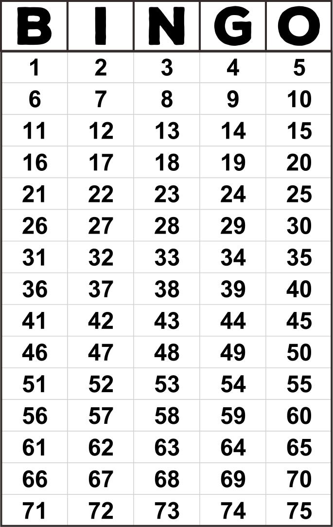Bingo Numbers 1 75