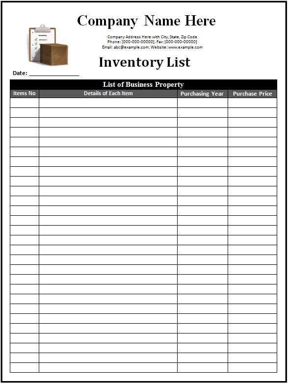 8 Images of Store Inventory List Form Printable