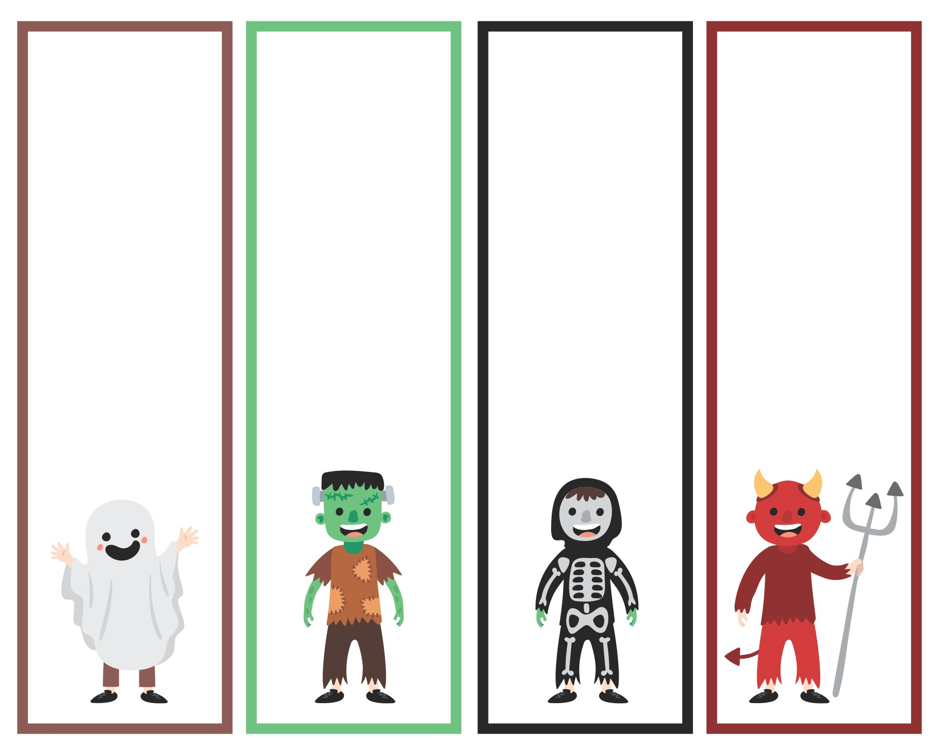 Blank Printable Bookmarks Halloween