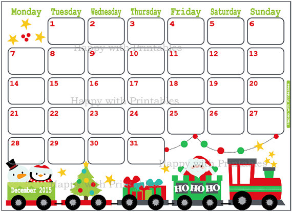 December 2015 Calendar 7 best images of 8 x 11 printable calendar 2015 ...