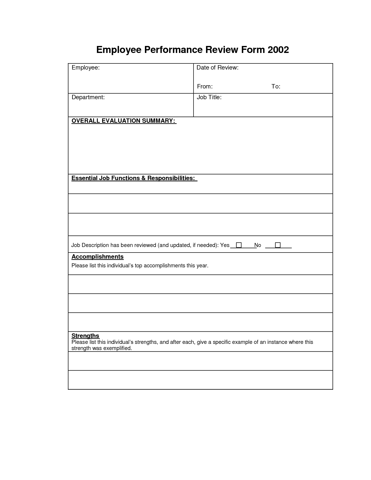 7 best images of printable employee performance forms for Hr performance review template