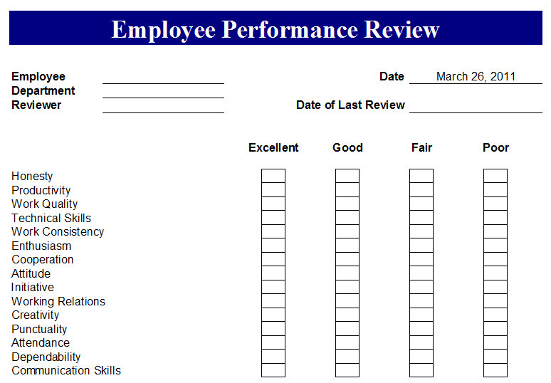 7 Images of Printable Employee Performance Forms