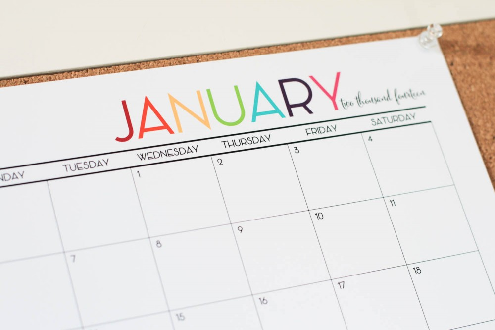 Free Color Printable 2014 Monthly Calendar