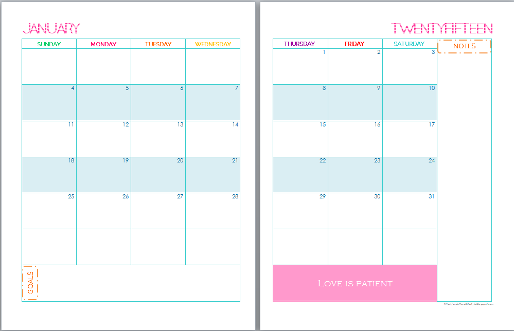12 best images of 2015 planning calendar printable 2 page for 2 page weekly calendar template