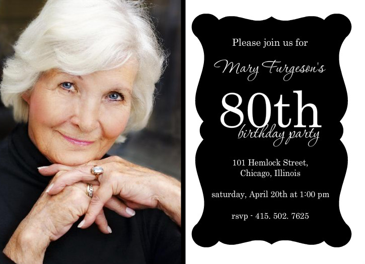 8 Images of Elegant 80th Birthday Invitations Printable