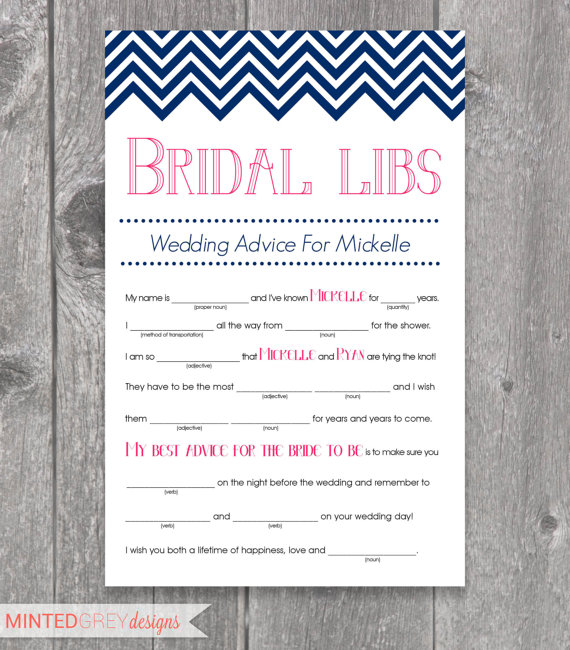 4 Images of Bridal Shower Mad Libs Printable