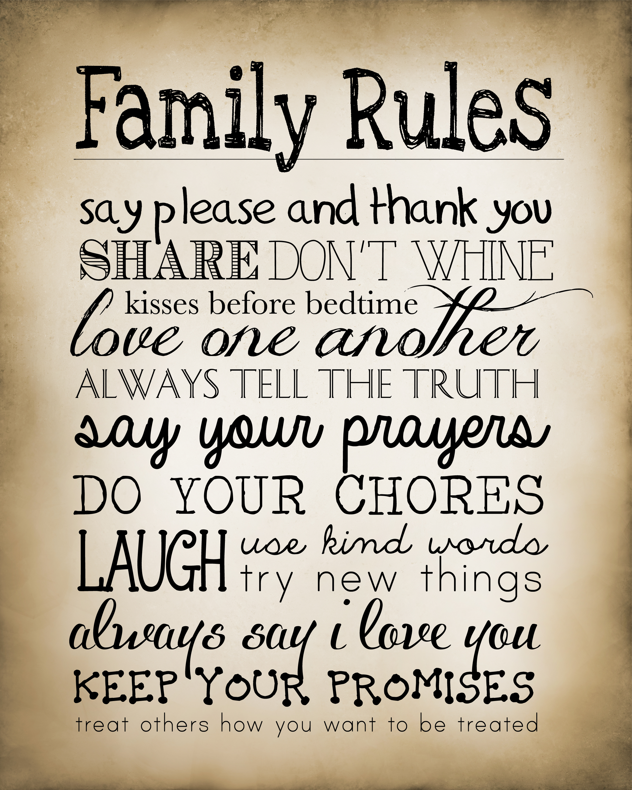 4 Images of Family Rules Printable