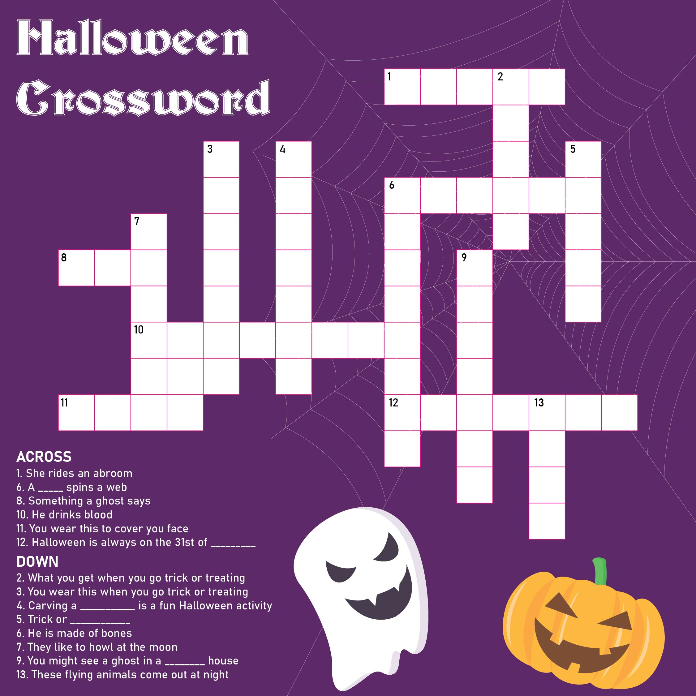 Printable Halloween Crossword Puzzle