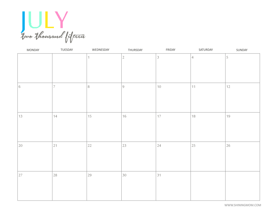 Free Printable Monthly Calendar July 2015