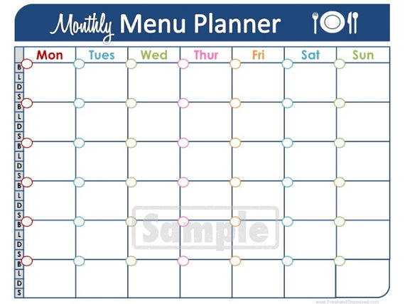 printable meal planner template free monthly meal planner template