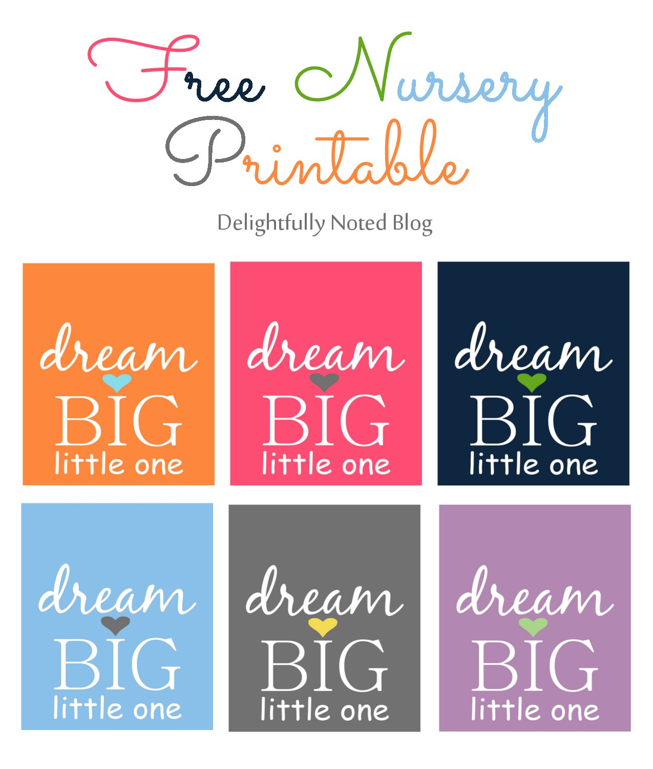 6 Images of Printable Nursery Wall Art Dream Big Little One