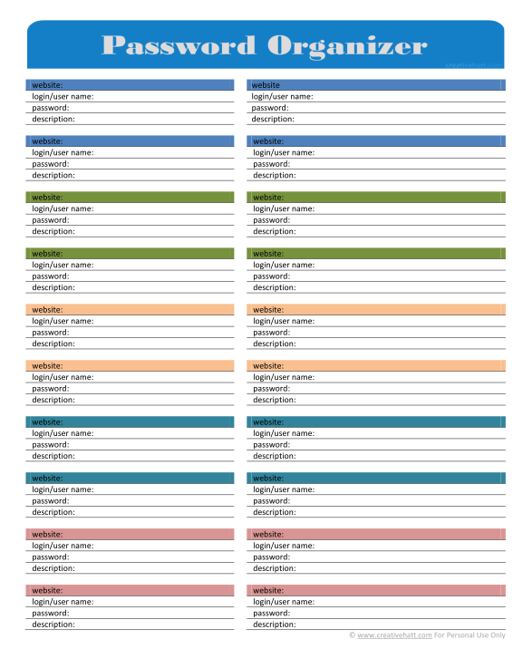 8 Best Images of Editable Password Organizer Printable