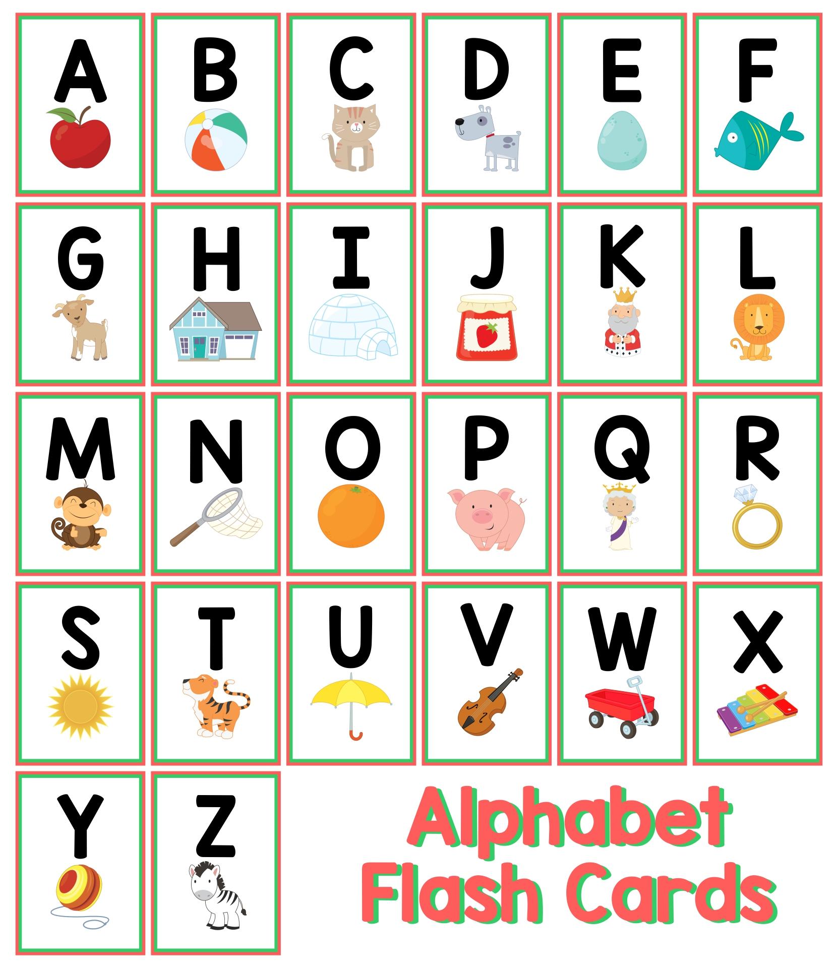 Printable Preschool Alphabet Flash Cards