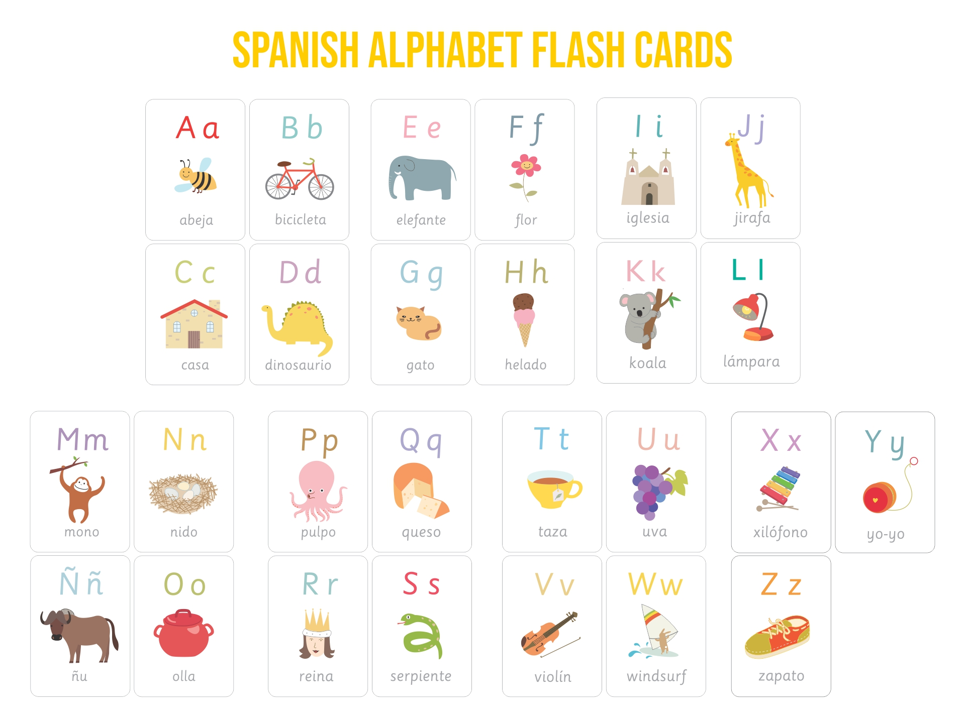 Printable Spanish Alphabet Flash Cards