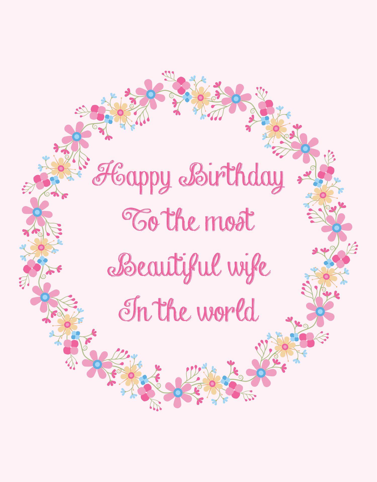 Happy Birthday Cards Wife Printable